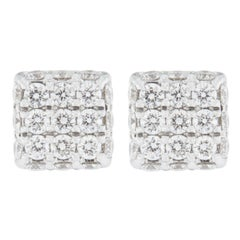 Jona Blue Sapphire 18 Karat White Gold Square Earrings Studs