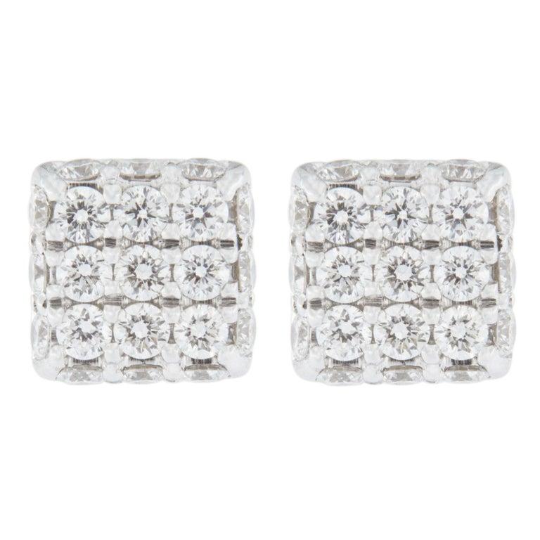 Jona Blue Shire 18 Karat White Gold Square Earrings Studs For