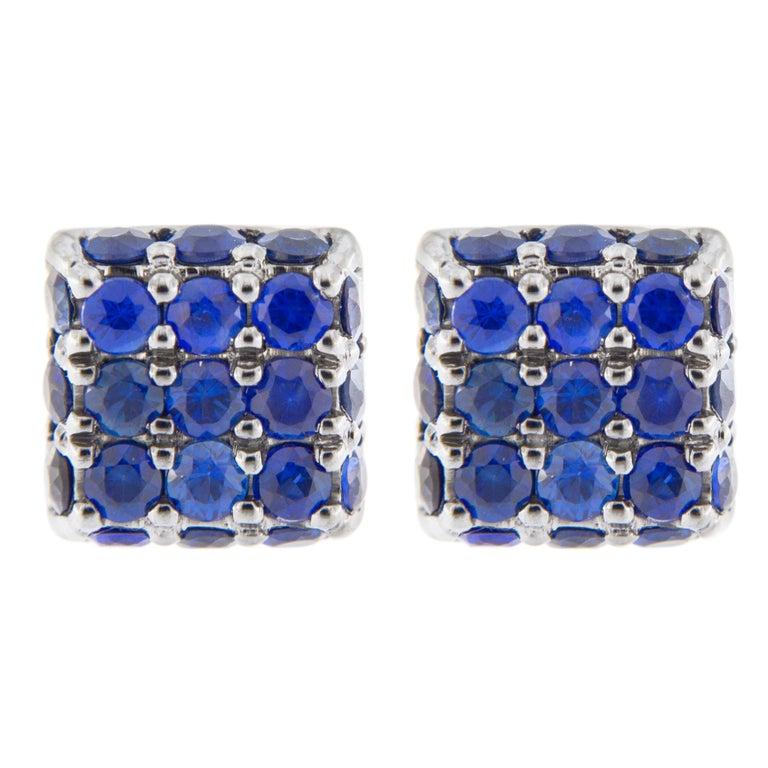 Jona Blue Shire 18 Karat White Gold Square Earring Studs For