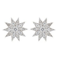Jona Star White Diamond 18 Karat White Gold Star Earrings
