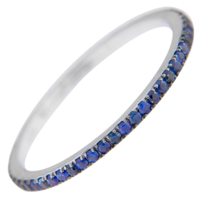 Jona Blue Sapphire 18 Karat White Gold Eternity Band Ring