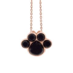 Jona Onyx 18 Karat Rose Gold Paw Print Pendant Necklace