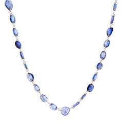 Jona Blue Sapphire 18 Karat White Gold Long Necklace