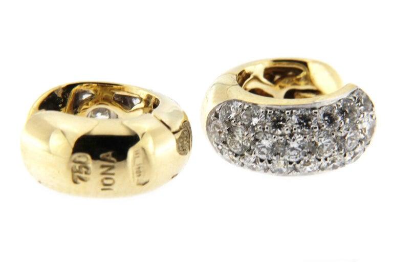 Women's Jona 18 Karat Yellow Gold White Diamond Small Hoop Earrings For Sale