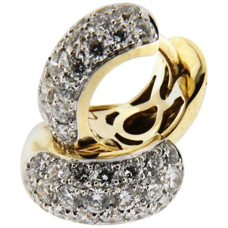 Jona 18 Karat Yellow Gold White Diamond Small Hoop Earrings For Sale