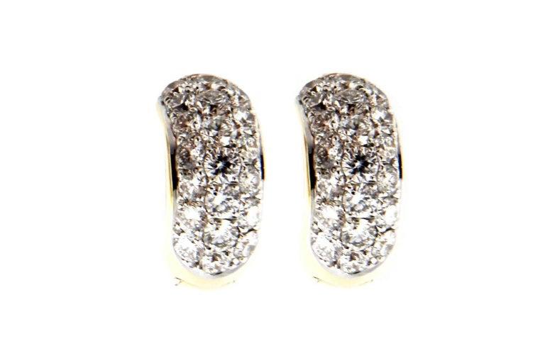 Jona 18 Karat Yellow Gold White Diamond Small Hoop Earrings For Sale 1