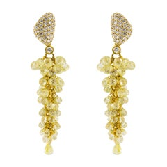 Jona Fancy Yellow and White Diamond 18 Karat Yellow Gold Cluster Earrings