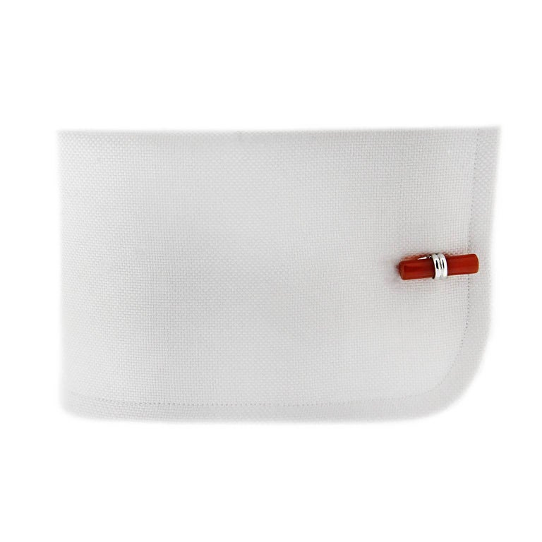 Cabochon Jona Onyx Carnelian Cylinder Sterling Silver Cufflinks For Sale