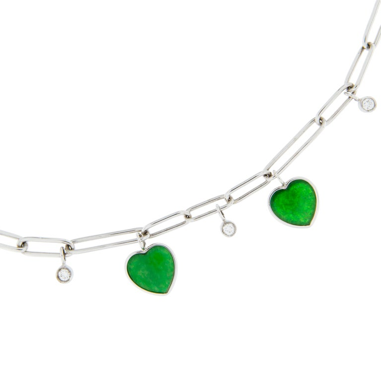 Jona Burmese Jade Heart Diamond White Gold Necklace In New Condition For Sale In Torino, IT