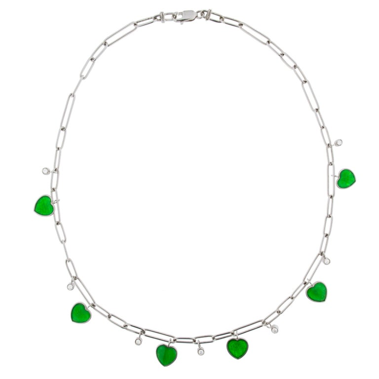 Jona Burmese Jade Heart Diamond White Gold Necklace For Sale 2