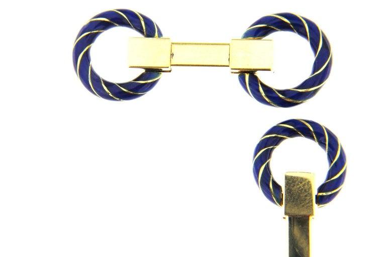 Women's or Men's Jona Blue Enamel 18 Karat Yellow Gold Double Ring Folding Cufflinks For Sale
