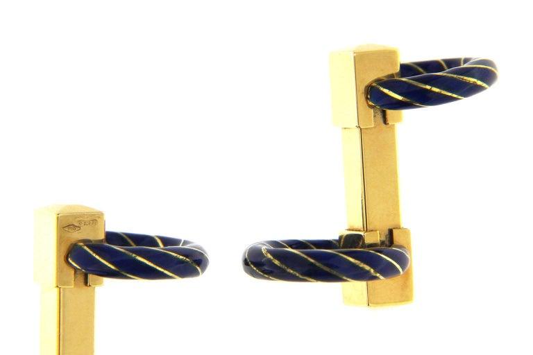 Jona Blue Enamel 18 Karat Yellow Gold Double Ring Folding Cufflinks In New Condition For Sale In Torino, IT