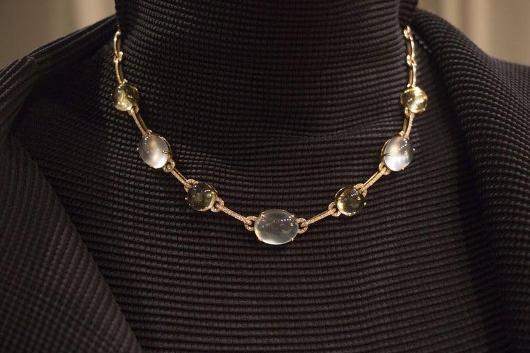 Jona Prehnite Citrine White Diamond 18 Karat Yellow Gold Necklace In As New Condition For Sale In Torino, IT