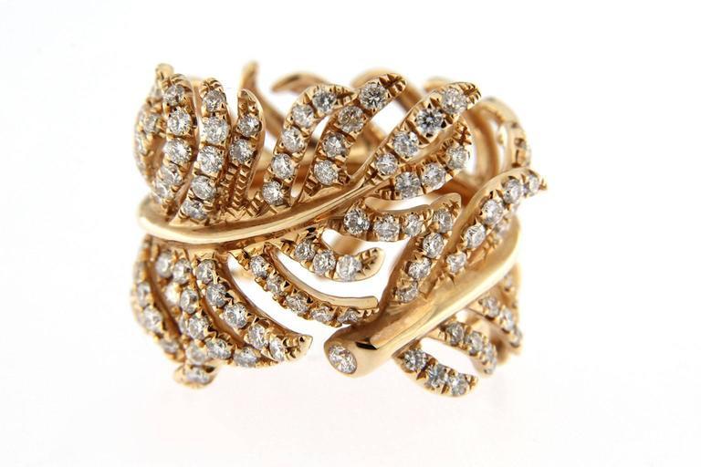 Jona Diamond Gold Wrap Around Feather Band Ring 3