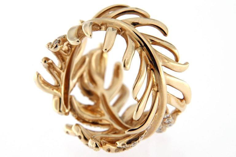 Jona Diamond Gold Wrap Around Feather Band Ring 4