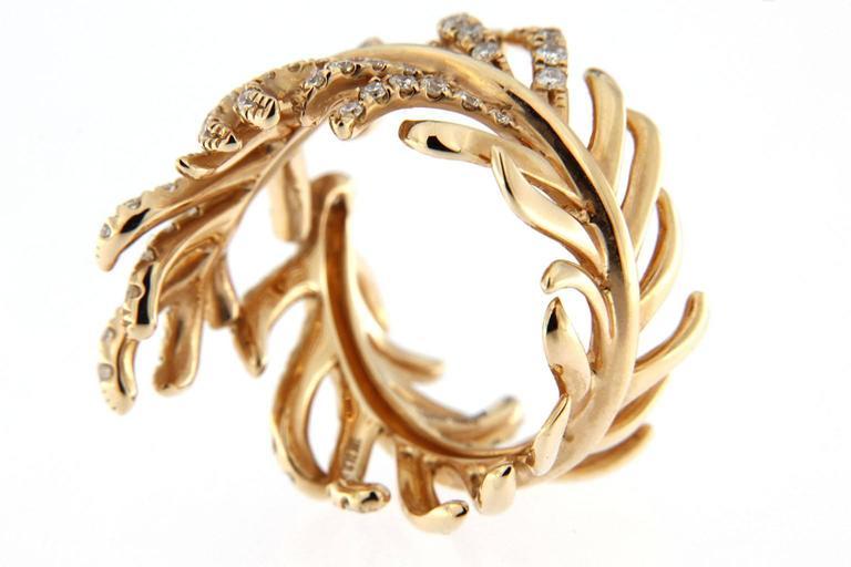 Jona Diamond Gold Wrap Around Feather Band Ring 5