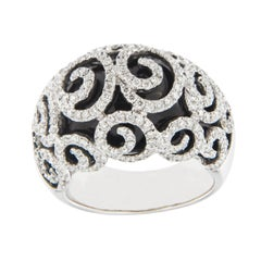 Jona Spiral Black Agate White Diamond 18 Karat White Gold Dome Ring