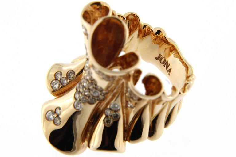 Jona Pergamena White and Brown Diamond Gold Band Ring For Sale 2