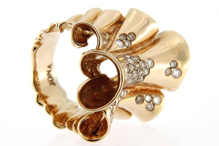 Jona Pergamena White and Brown Diamond Gold Band Ring For Sale 3