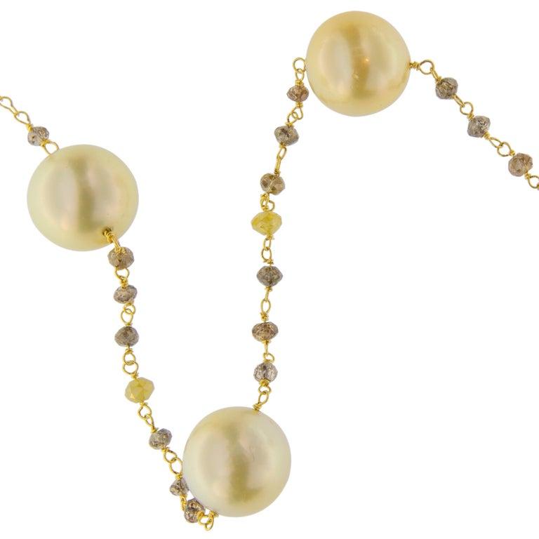 Women's Jona South Sea Pearl Briolette Cut Diamond Sautoir 18 Karat Yellow Gold Necklace For Sale