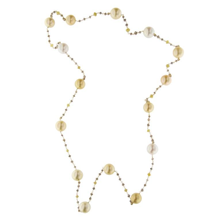 Jona South Sea Pearl Briolette Cut Diamond Sautoir 18 Karat Yellow Gold Necklace In New Condition For Sale In Torino, IT