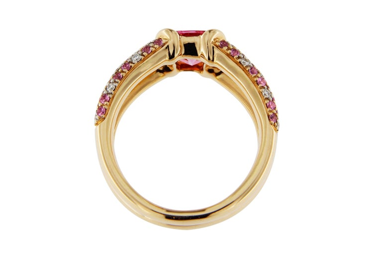 Jona Pink Spinel Pink Sapphire White Diamond 18k Rose Gold Ring For Sale 1