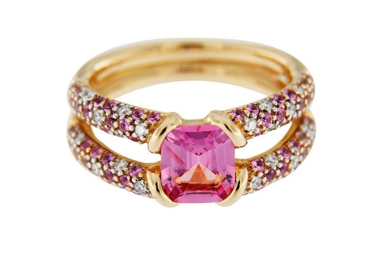 Women's Jona Pink Spinel Pink Sapphire White Diamond 18k Rose Gold Ring For Sale