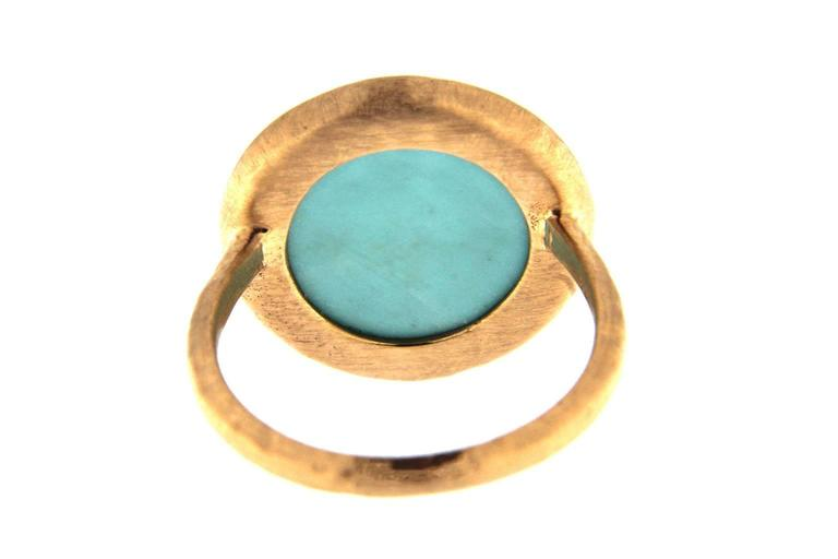 Jona Turquoise Quartz 18k Rose Gold Ring In As New Condition For Sale In Torino, IT