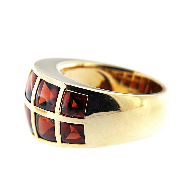 Women's Jona 18 Karat Yellow Gold Garnet Band Ring For Sale