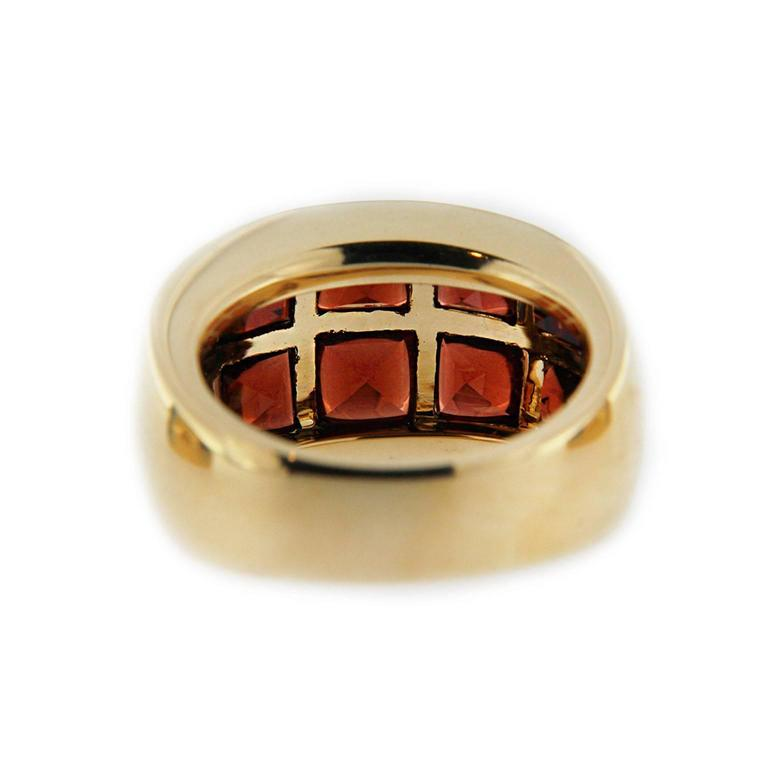 Jona 18 Karat Yellow Gold Garnet Band Ring For Sale 1
