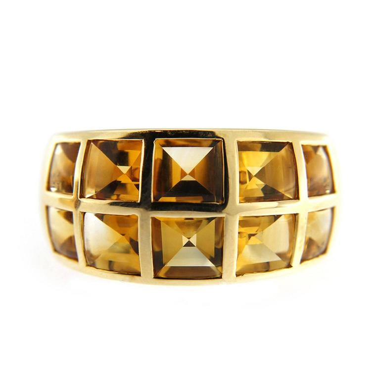 Jona Citrine 18 Karat Yellow Gold Band Ring In New Condition For Sale In Torino, IT