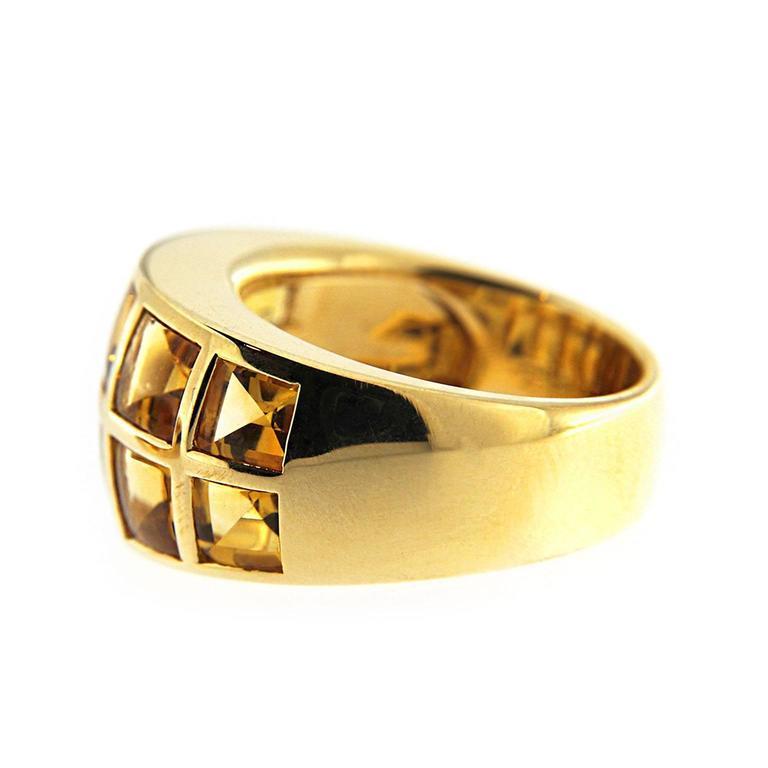 Women's Jona Citrine 18 Karat Yellow Gold Band Ring For Sale