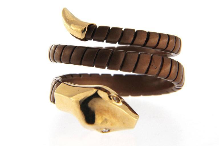Women's Jona Silver Gold Coil Snake Ring For Sale