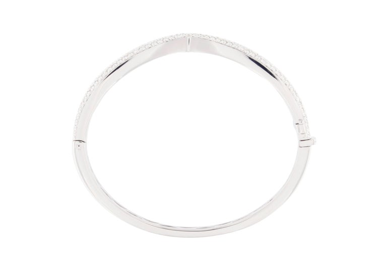 Jona White Diamond Pavé White Gold Bangle Bracelet 3