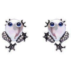 Alex Jona Pearl Sapphire White Diamond 18 Karat White Gold Frog Clip-on Earrings