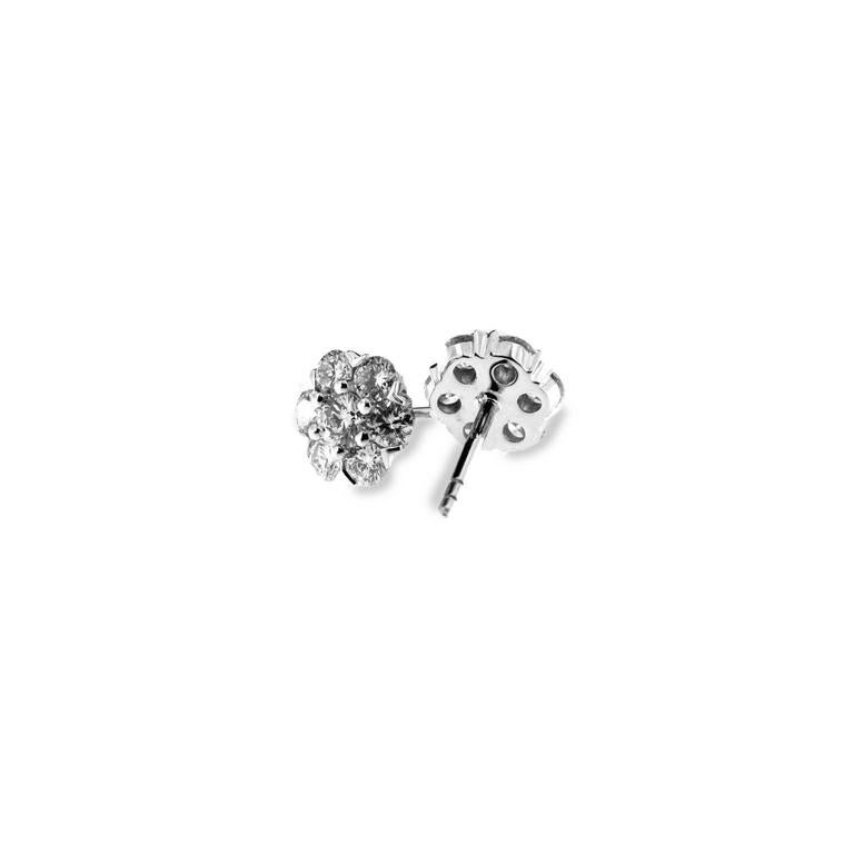 Jona White Diamond 18 Karat White Gold Cluster Earrings In New Condition For Sale In Torino, IT