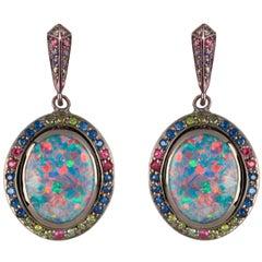 Opal Sapphire Green Diamond Ruby Gold Fruit Drop Earrings