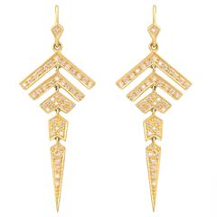 Lauren Harper Collection .80 Carats Diamonds Gold Earrings