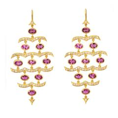 Lauren Harper Pink Tourmaline Diamonds Gold Chandelier Statement Earrings