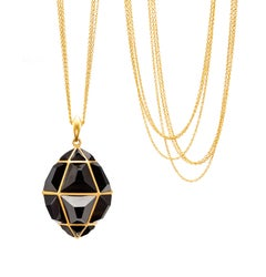 Lauren Harper Black Spinel, Gold Geometric Statement Necklace