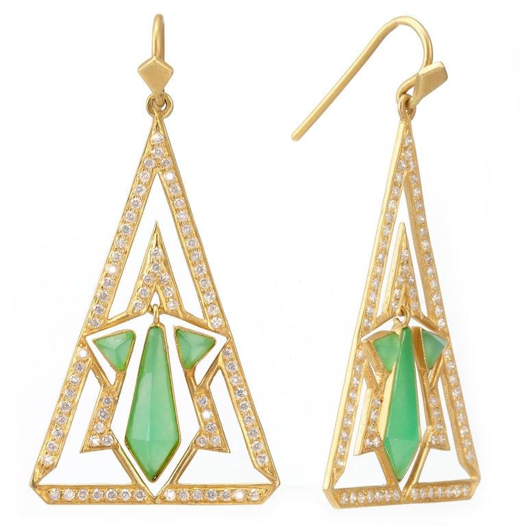 Lauren Harper Chrysophrase Diamond Gold Earrings