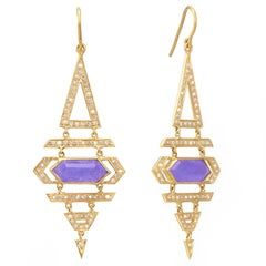 Lauren Harper Purple Jade Diamond Gold Earrings