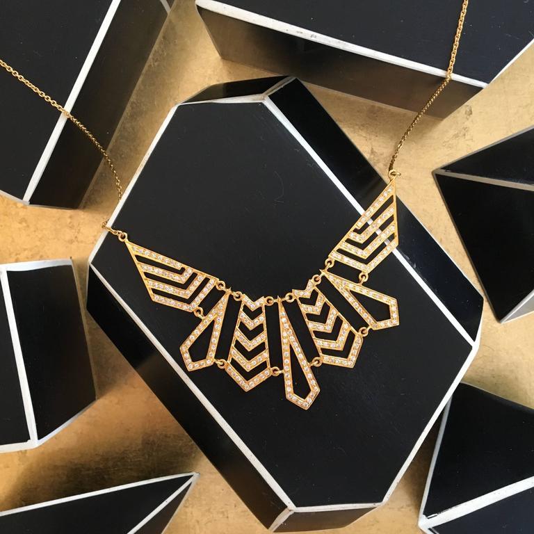 Artist Lauren Harper Collection 1.62 Carat Diamond Yellow Gold Statement Necklace For Sale