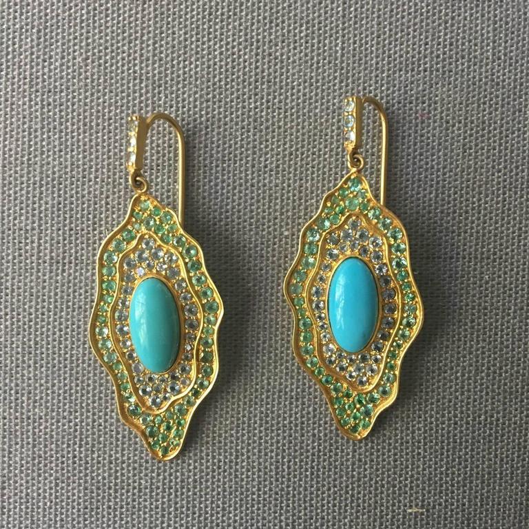 Sleeping Beauty Turquoise Aquamarine Emerald Gold Organic Earrings 7