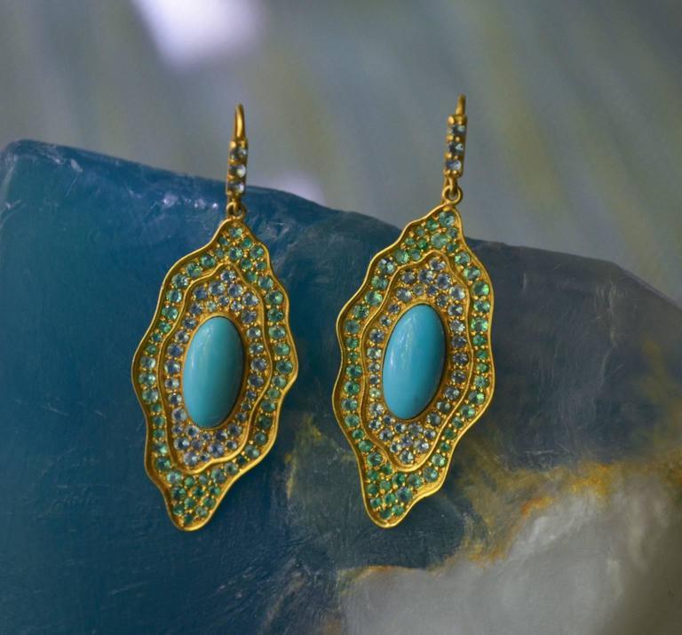 Sleeping Beauty Turquoise Aquamarine Emerald Gold Organic Earrings 6