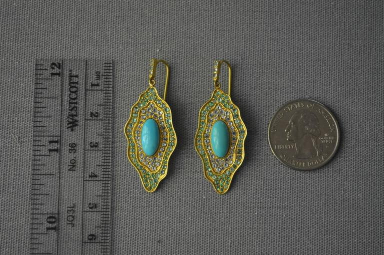 Sleeping Beauty Turquoise Aquamarine Emerald Gold Organic Earrings 4