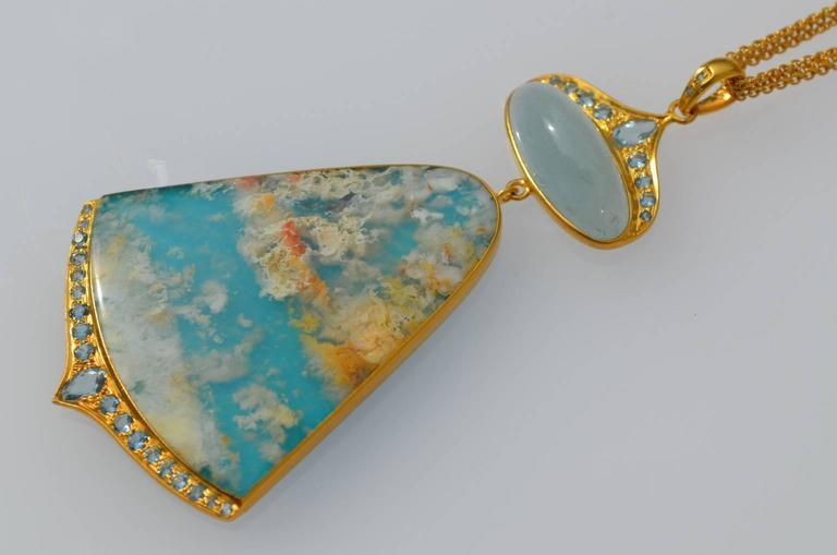 Women's Lauren Harper Sea Agate Aquamarine Diamond Gold Pendant Statement Necklace For Sale