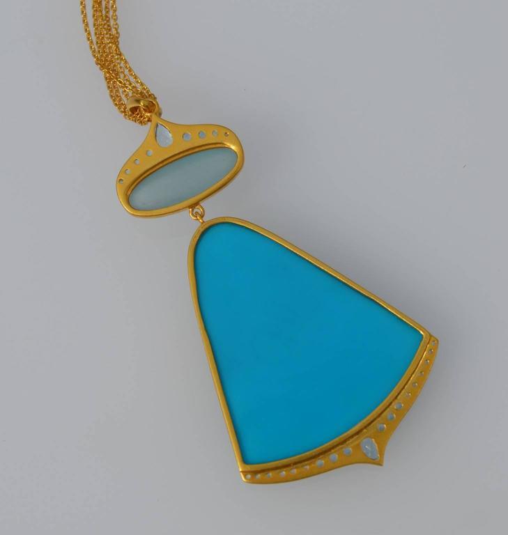 Lauren Harper Sea Agate Aquamarine Diamond Gold Pendant Statement Necklace For Sale 1