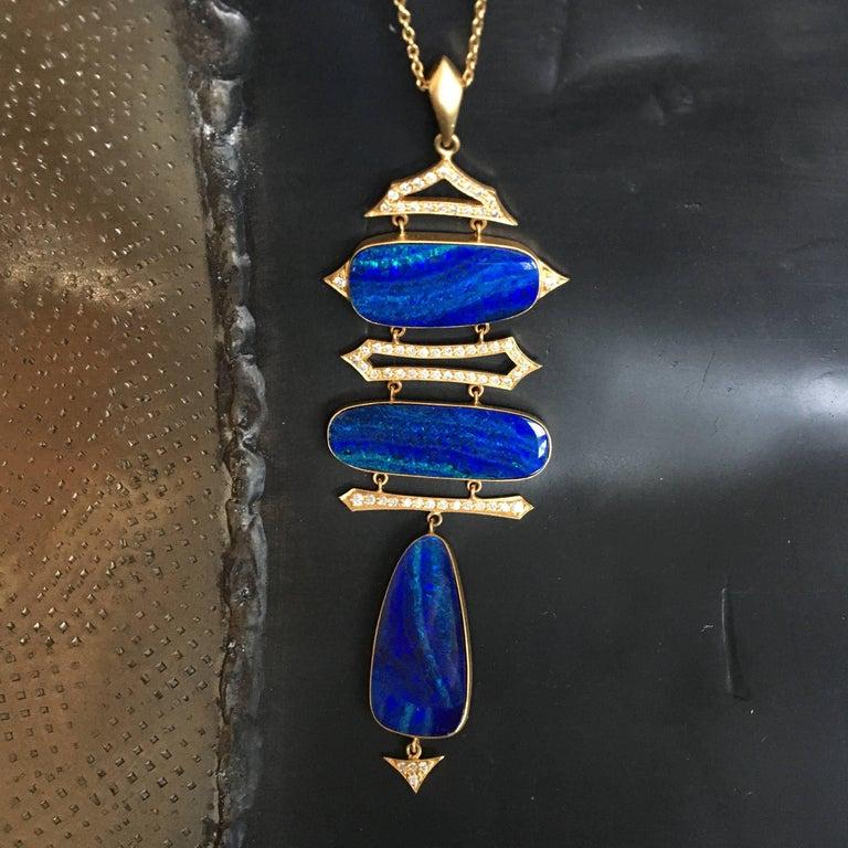 Lauren Harper Boulder Opal, Diamond, Gold Statement Necklace In New Condition For Sale In Winnetka, IL