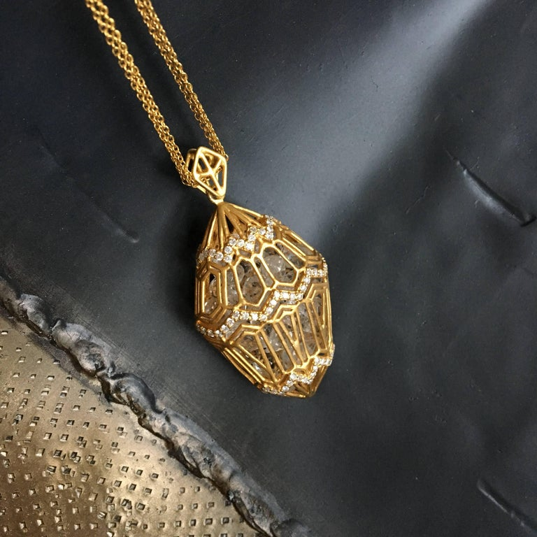 Lauren Harper .94cts Diamonds, 34cts Loose White Topaz, Gold Pendant on Chains In As new Condition For Sale In Winnetka, IL